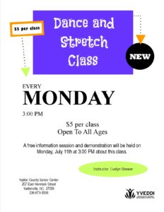 Dance and Stretch Class flyer 2016