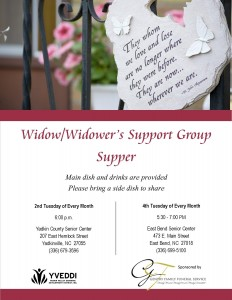 Widow-Widowers Support Supper flyer